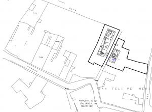 Figura3. Localización de restos arqueológicos encontrados en la zona de actuación, a ambos lados de la calle peatonal que divide la superficie total en dos áreas diferenciadas. Fuente: EPSA.