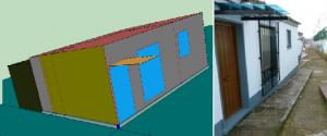 Figura 3 Vivienda tipo, imagen real e imagen simulada.