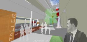Figura 4. Propuesta: vista interior en planta baja desde uno de los patios interiores: ciudad y peatón fluyen a través del espacio continuo de la calle y los patios propuestos. Elaboración propia.