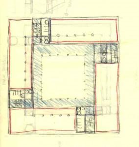 Fig.11-esquema en hélice. Primeros borradores  Núcleos de máquinas. Torres de instalaciones.2006