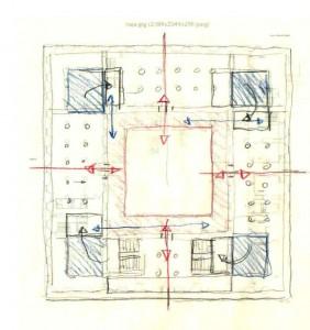 Fig.10- Esquema de intervención en planta.  Primeros borradores. Croquis del autor. Año 2006.