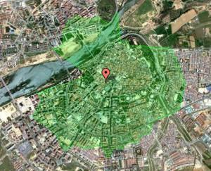 Figura 5: Cobertura desde el centro comercial (calle Menacho) mediante isócrona de 20 minutos