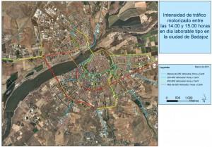 Figura 6: Intensidad de tráfico motorizado entre las 14.00 y 15.00 horas en día laborable tipo