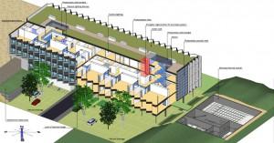 Figura 2. (Sección axonométrica. Pozos de luz, aparcamiento abierto y central de biomasa).