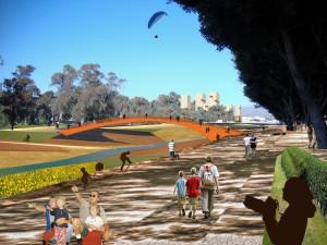 """Fotomontaje desde la Avenida Jorge Silvela hacia el """"Parque de las Energías"""" en el Paseo de Martiricos y la Rosaleda"""