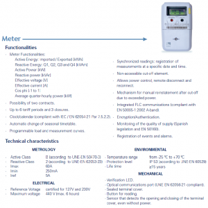 Figure 4: Smart meter features for electrical consumption used in Spanish pilot