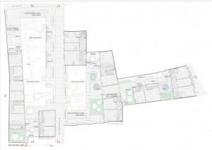 Figura 7. Planta baja: restos arqueológicos, espacios libres de paso y estancia, portales de acceso y viviendas, talleres e instalaciones. Elaboración propia.