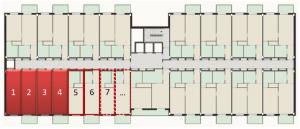 Figura 6. En el esquema propuesto por ACORDE se dispone de un corredor central que sirve a una serie de módulos jurídicos independientes y agrupable, los cuales permiten una adaptabilidad plena de los espacios a medida que las familias van cambiando.