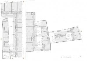 Figura 8. Planta primera: acceso a viviendas desde galería exterior cubierta. Elaboración propia.