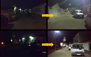Figura 9: Nivel de iluminación y Uniformidad lumínica en Ronda del Sol y C/ Buenavista en la situación actual y la prevista respectivamente.