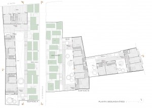 Figura 10. Planta segunda-ático: viviendas y huertos urbanos. Elaboración propia.