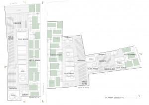 Figura 11. Planta cubierta: huertos urbanos, tendederos comunitarios y paneles solares. Elaboración propia.