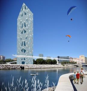 Fotomontaje desde el Puerto de Málaga hacia el Paseo de Antonio Machado, vista de la Pasarela Mirador y la Torre del Río