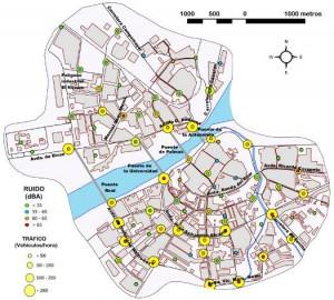 Figura 10: Nivel de ruido y densidad de tráfico en los puntos muestrales. Mayo, junio y julio de 2011.