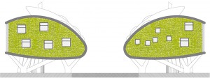 Figura 16. Alzados laterales sureste y noroeste