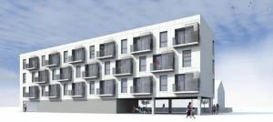 Figura 16. Fachada sur del edificio, hacia donde abren todas las estancias de las viviendas, para aprovechar el mejor soleamiento y la relación con el espacio público.