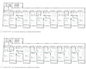 Figura 18. Las plantas de las viviendas pueden organizarse tanto en apartamentos de salón más tres dormitorios como en unidades de salón más un dormitorio. Será el proceso de ventas el que defina la composición final de las unidades.