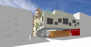 Figura32. Vista exterior de la propuesta desde la calle Alta: la calle Chinchilla a la izquierda con la iglesia al fondo. Elaboración propia.