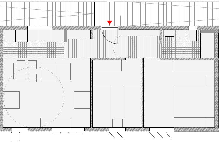 Figura 34. Esquema de vivienda tipo: distribución de espacios interiores y gradación espacio público-privado. Elaboración propia.
