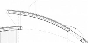 Figura 33. Sección de hueco principal a suroeste en cubierta y hueco a noreste