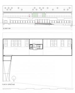 Planta de garaje e instalaciones y alzado principal de la Fachada Sur.