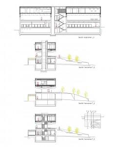Secciones del edificio y la urbanización ajardinada interior.