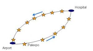 Figura 4: Ruta y número de paradas