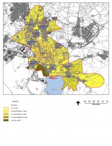 Figura 1: Ámbito de estudio y población de la ciudad de Cartagena (hab.) para cada sección de distrito.