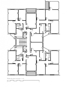 Figura 1: Planta de pisos. Niveles 1 a 4. Dibujo del autor