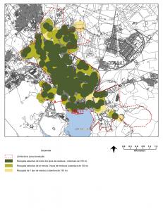 Figura 3: Proximidad a la recogida selectiva de residuos en la ciudad de Cartagena, con una cobertura de 150 metros (verde oscuro: recogida selectiva de todos los tipos de residuos; verde claro: recogida selectiva de al menos dos tipos de residuos; amarillo: recogida de un tipo de residuo).