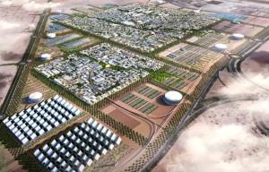 """Figura 5 - Imagen de la """"Masdar City"""" en Emiratos Árabes. Objeto urbano ubicado en un área desértica como lugar de experimentación tecnológica."""