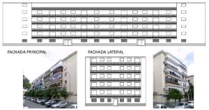 """Figura 3: Planta y alzado edificación tipo """"Martillo"""". Trabajo LAE 2013. Rehabilitando: Bloque de Parque Alcosa"""