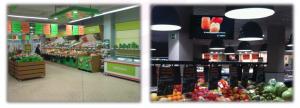 Figura 5: Vista general de la instalación de iluminación en el supermercado objeto de estudio.