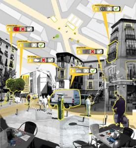 """Figura 6 – Imagen conceptual de idea del espacio abierto de agregación física de la ciudadanía """"data-driven-citizens"""" por Sara Alvarellos."""