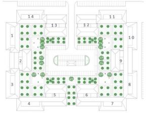 """Figura 4: Planta edificación tipo """"Plaza"""". Trabajo LAE 2012. Parque Alcosa: Plaza Collao. Levantamiento."""